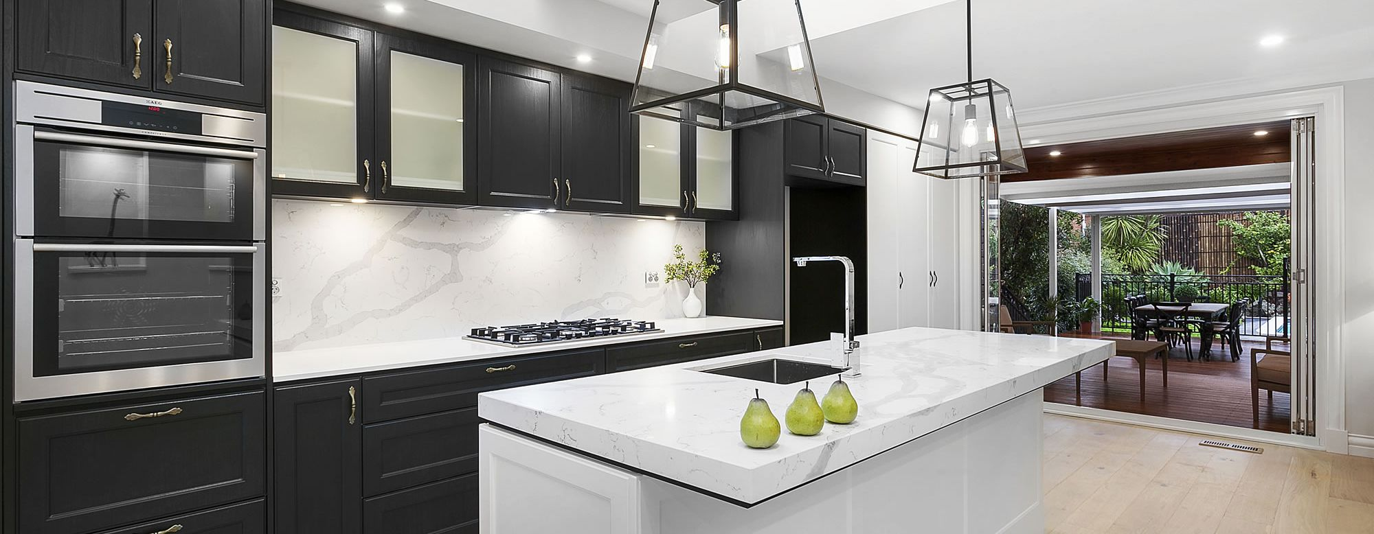 Stylish Modern Kitchen with black wood stain